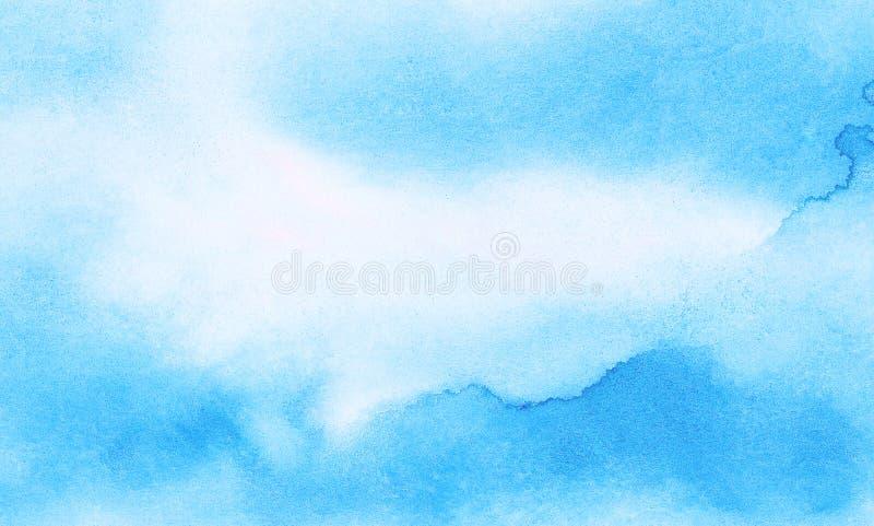 Leichter heller Himmelblau-Farbaquarellhintergrund Subtiles Aquarell malte strukturiertes Papiersegeltuch f?r Weinleseentwurf stockfotografie