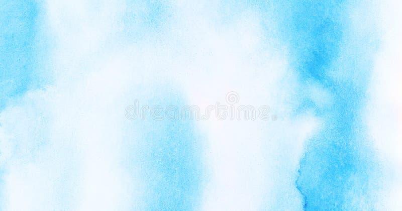 Leichter heller Himmelblau-Farbaquarellhintergrund Subtiles Aquarell malte strukturiertes Papiersegeltuch f?r Weinleseentwurf lizenzfreies stockbild