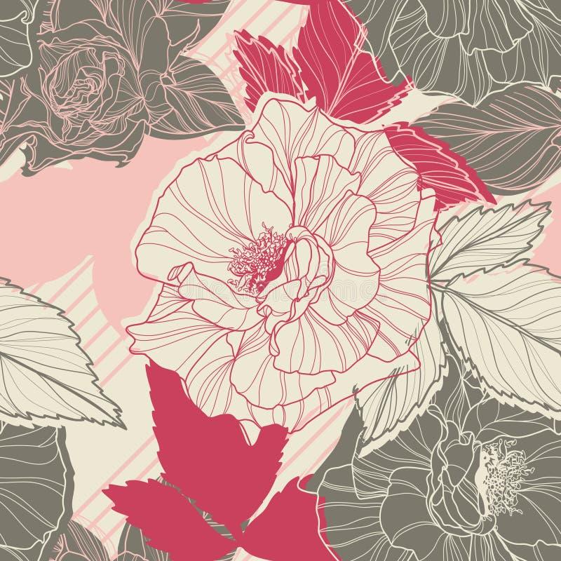 Leichtes nahtloses mit Blumenmuster mit handdrawn vektor abbildung