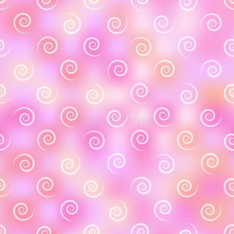 Leichtes nahtloses Muster von hellen Locken auf einem hellrosa mit einem purpurroten, beschmutzten Hintergrund vektor abbildung