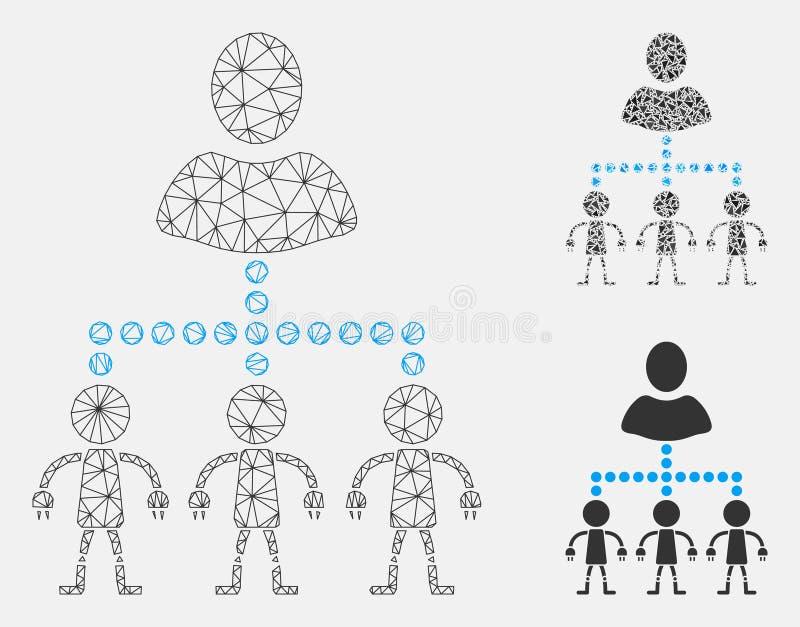 Leid Androids Vector het Mozaïekpictogram van Mesh Wire Frame Model en van de Driehoek vector illustratie