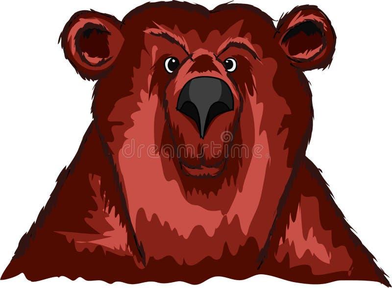 Leid een nieuwsgierige beer op een witte achtergrond royalty-vrije illustratie