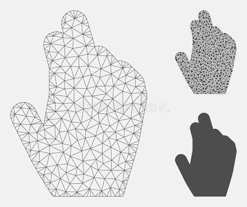 Leid Hand Vector het Mozaïekpictogram van Mesh Network Model en van de Driehoek vector illustratie
