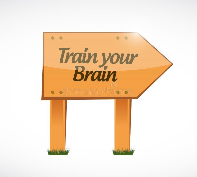 leid uw concept van het hersenen houten teken op royalty-vrije illustratie
