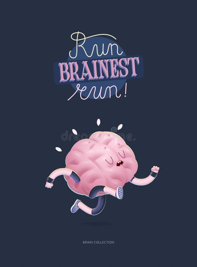 Leid uw hersenenaffiche met het van letters voorzien, het lopen op vector illustratie