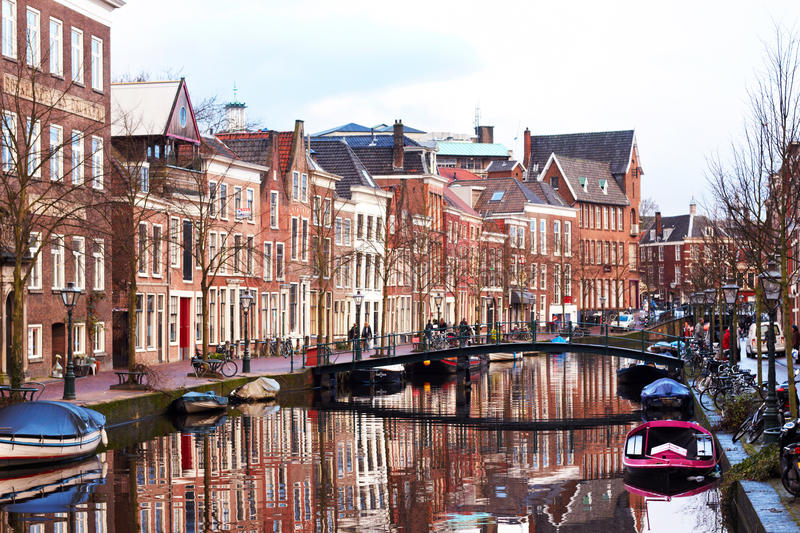 Leiden city, Netherlands. Canal of Leiden city, Netherlands royalty free stock images