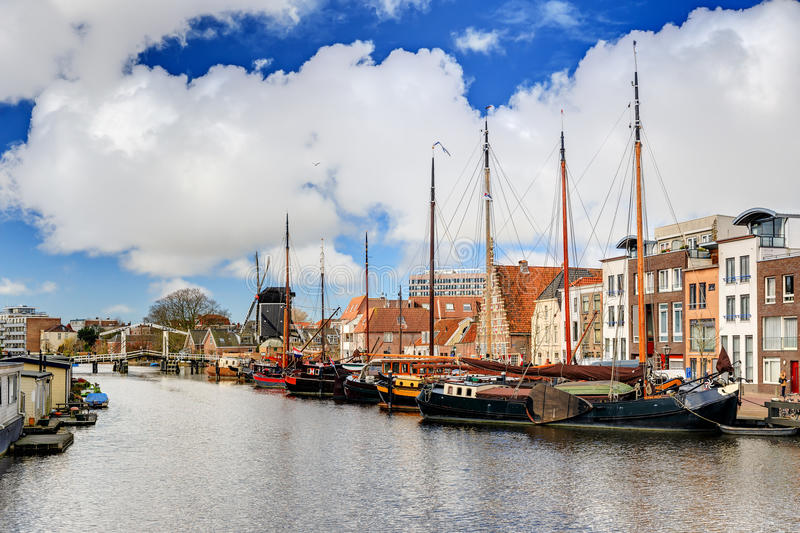 Leiden Galgewater. Beautiful spring view of the Galgewater in Leiden, the Netherlands stock photos