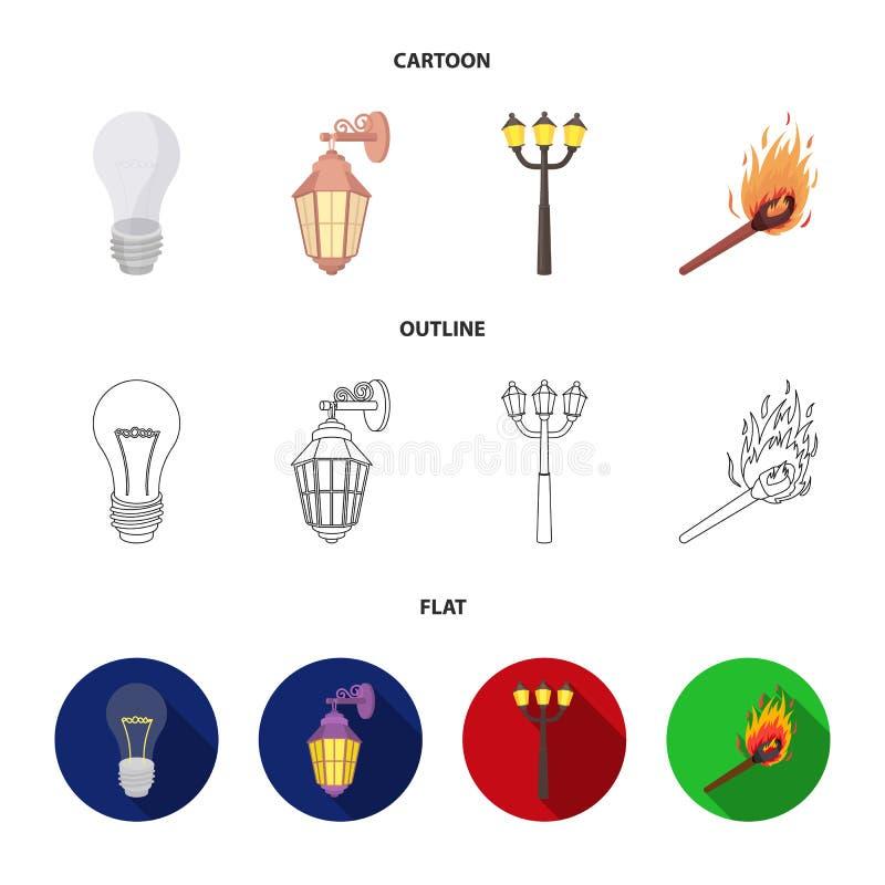 LEIDEN licht, straatlantaarn, gelijke Pictogrammen van de lichtbron de vastgestelde inzameling in beeldverhaal, overzicht, de vla royalty-vrije illustratie