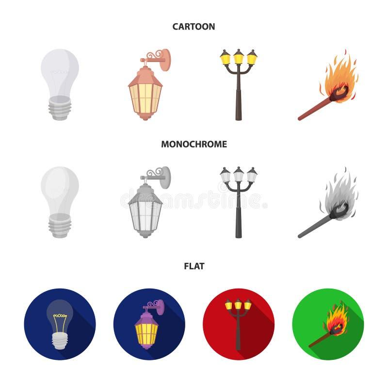 LEIDEN licht, straatlantaarn, gelijke Pictogrammen van de lichtbron de vastgestelde inzameling in beeldverhaal, de vlakke, zwart- stock illustratie