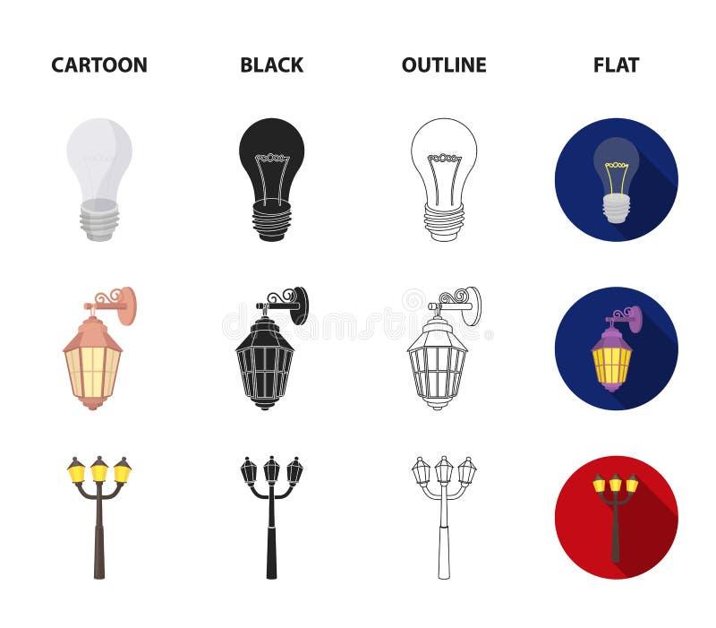 LEIDEN licht, straatlantaarn, gelijke Pictogrammen van de lichtbron de vastgestelde inzameling in beeldverhaal, zwarte, overzicht stock illustratie