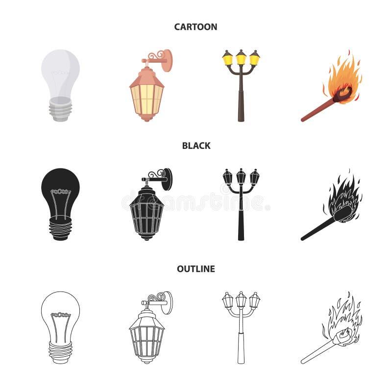 LEIDEN licht, straatlantaarn, gelijke Pictogrammen van de lichtbron de vastgestelde inzameling in beeldverhaal, zwarte, vector he vector illustratie