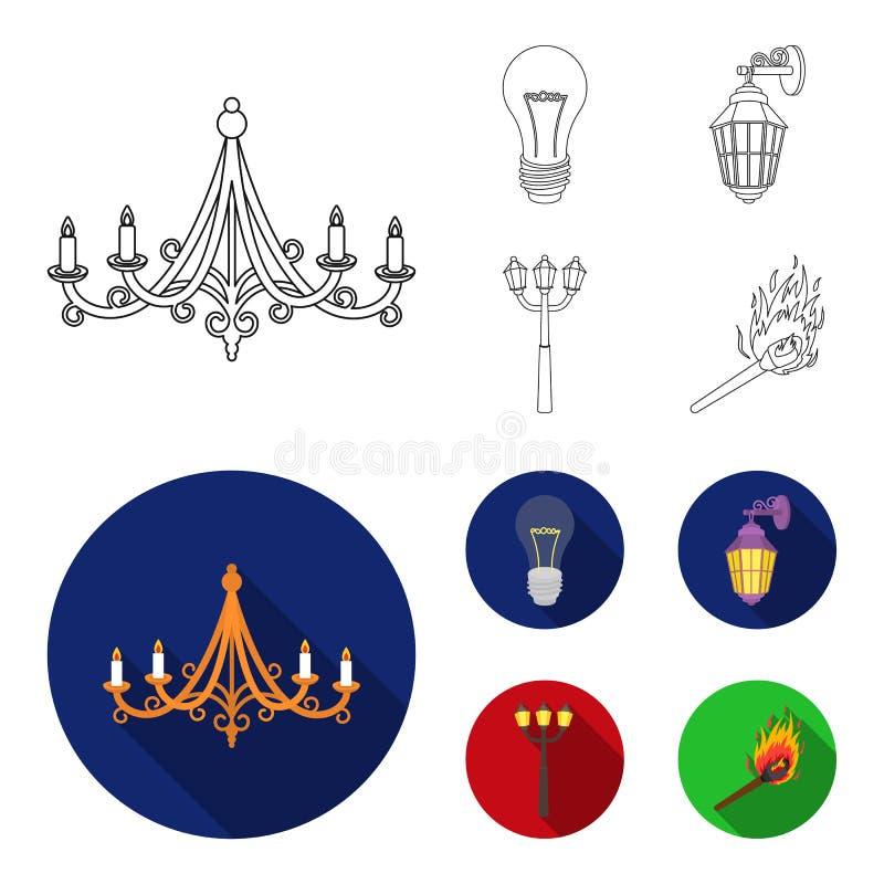 LEIDEN licht, straatlantaarn, gelijke Pictogrammen van de lichtbron de vastgestelde inzameling in overzicht, vlakke de voorraadil royalty-vrije illustratie