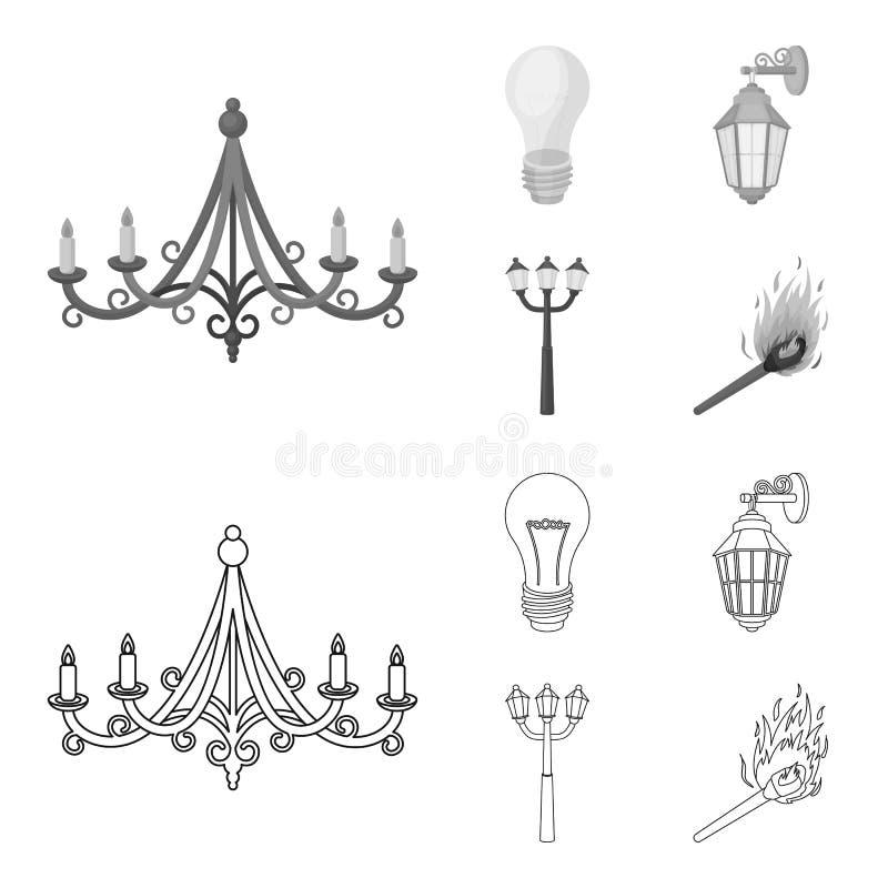 LEIDEN licht, straatlantaarn, gelijke Pictogrammen van de lichtbron de vastgestelde inzameling in overzicht, de zwart-wit voorraa stock illustratie