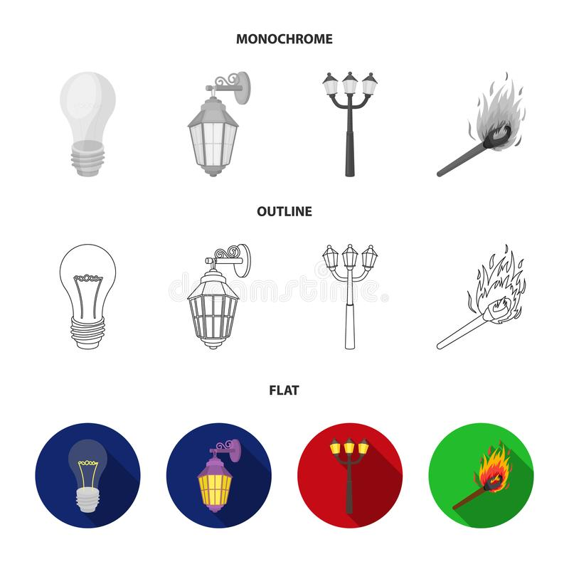 LEIDEN licht, straatlantaarn, gelijke Pictogrammen van de lichtbron de vastgestelde inzameling in vlakte, overzicht, de zwart-wit royalty-vrije illustratie