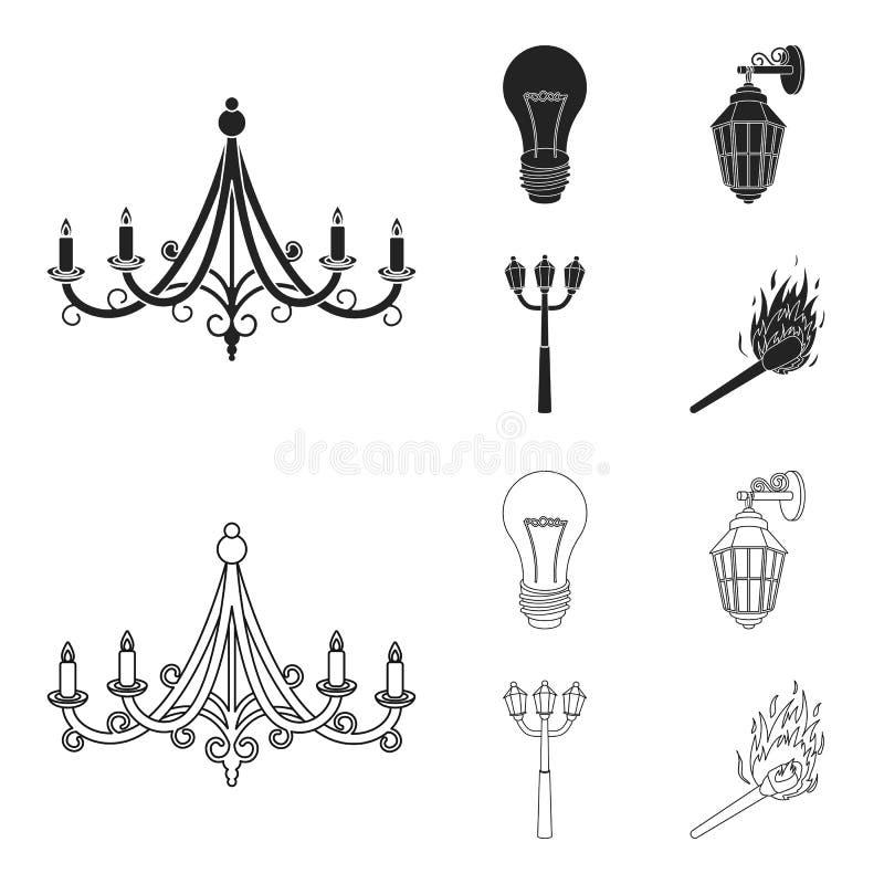 LEIDEN licht, straatlantaarn, gelijke Pictogrammen van de lichtbron de vastgestelde inzameling in zwarte, illustratie van de het  vector illustratie