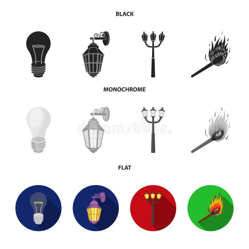 LEIDEN licht, straatlantaarn, gelijke Pictogrammen van de lichtbron de vastgestelde inzameling in de zwarte, vlakke, zwart-wit vo vector illustratie