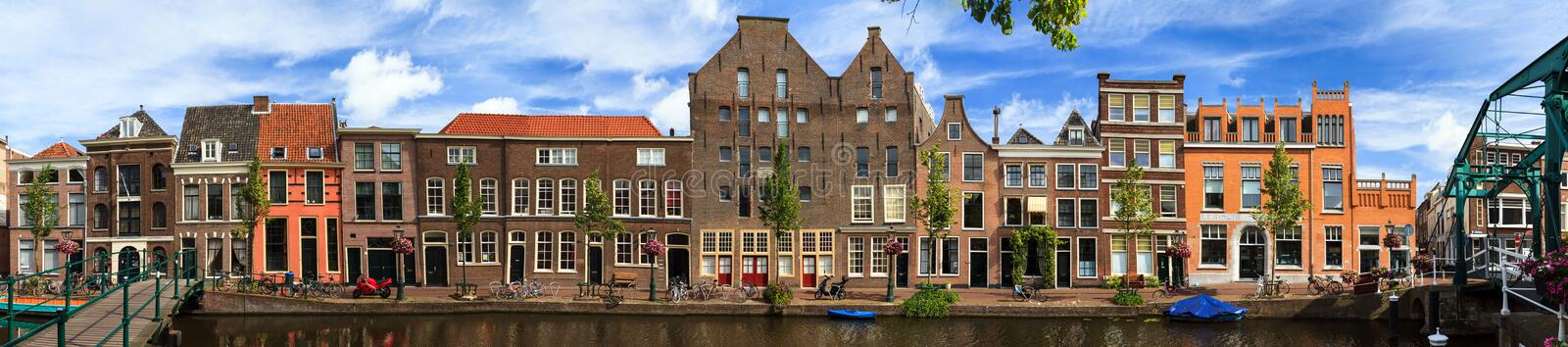 Leiden linear panorama. Beautiful Linear panorama of the Oude Rijn canal cityscape in Leiden, The Netherlands, in summer royalty free stock photo