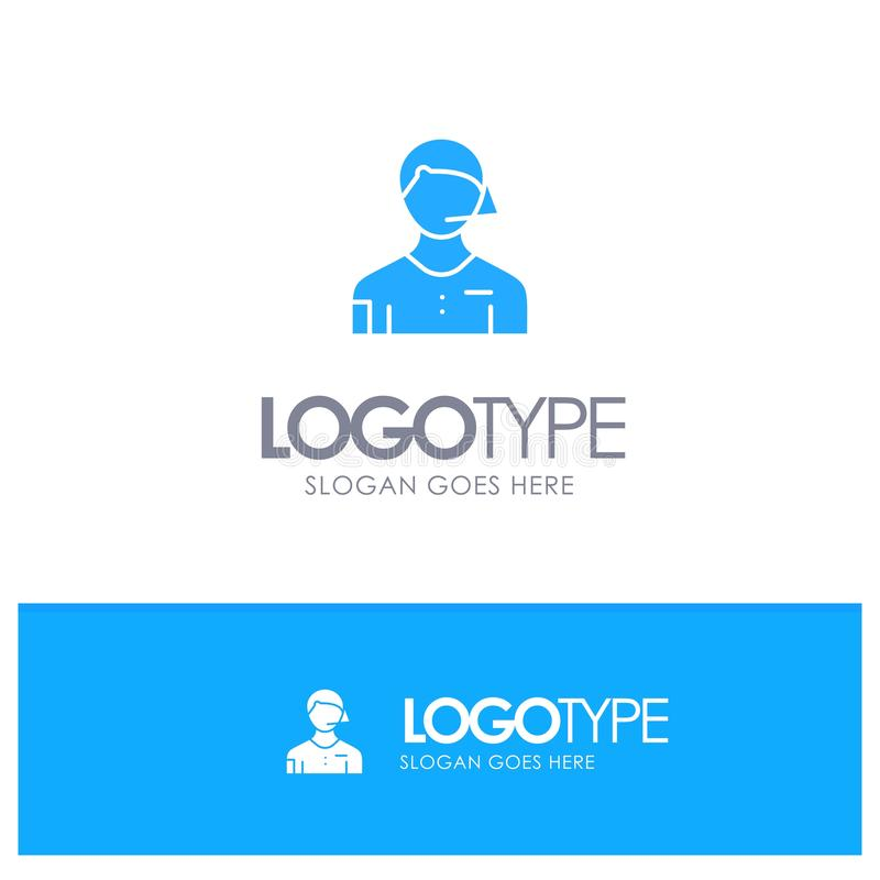 Leidende figuur, Voetbal, Rechter, Grensrechter, Scheidsrechter Blue Solid Logo met plaats voor tagline vector illustratie