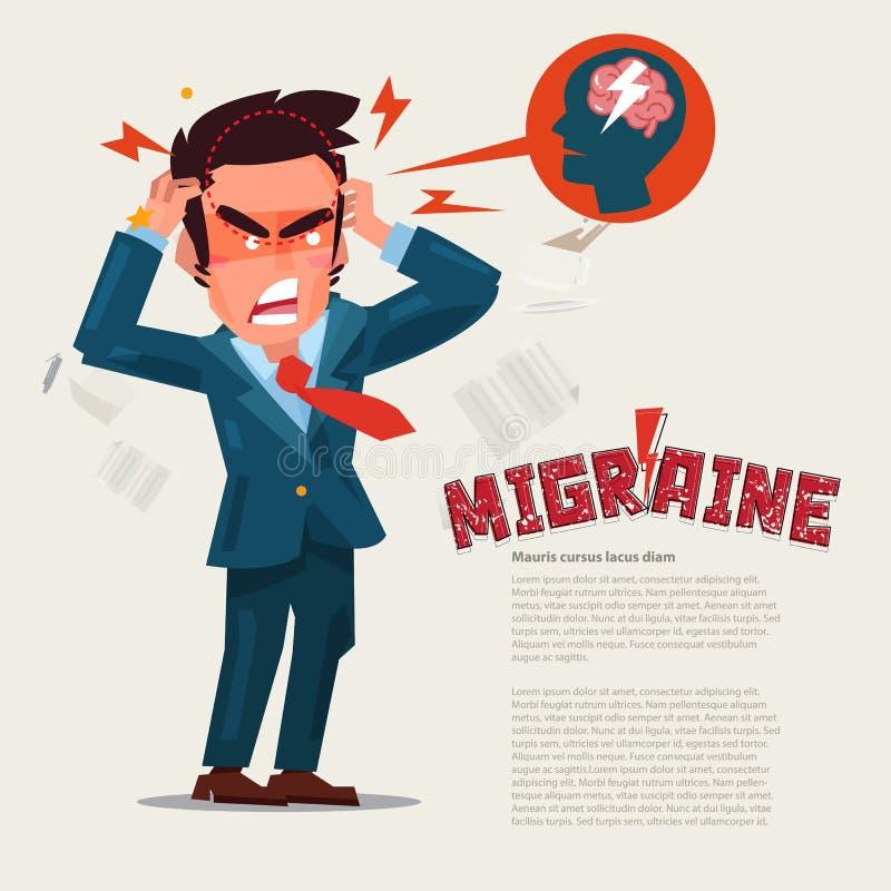 Leidende Kopfschmerzen und Migräne des Mannes in den Schmerz Charakterdesign M lizenzfreie abbildung
