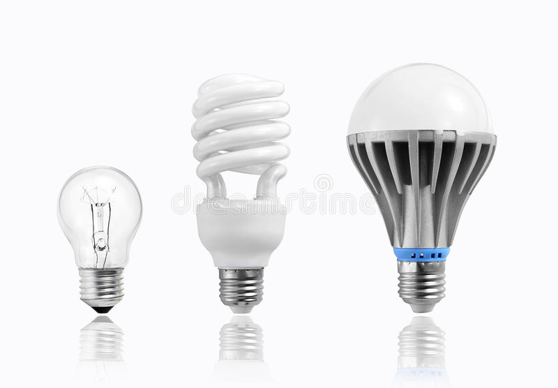LEIDENE bol, wolframbol, gloeiende bol, fluorescente lamp, Evolutie van verlichting, Energie - besparing en milieubescherming royalty-vrije illustratie