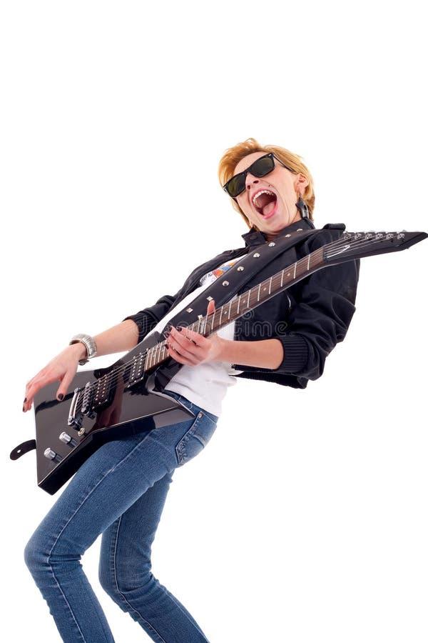 Leidenschaftlicher Frauengitarrist lizenzfreies stockbild