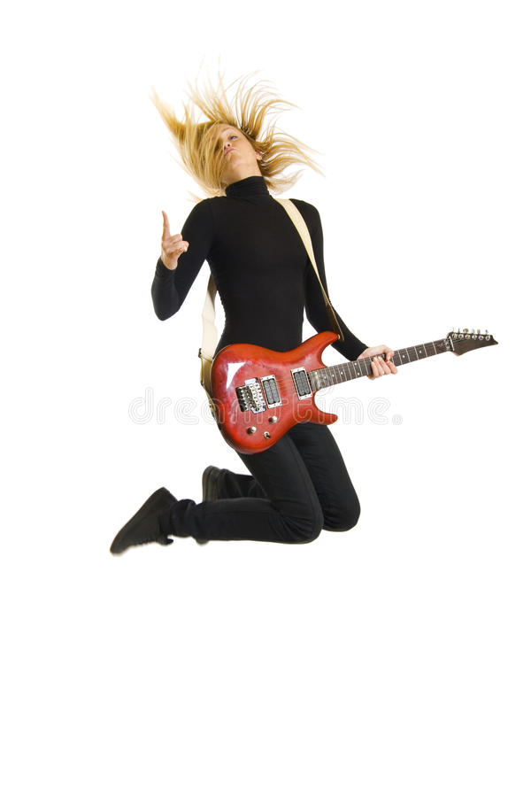Leidenschaftlicher Frauengitarrist stockbilder