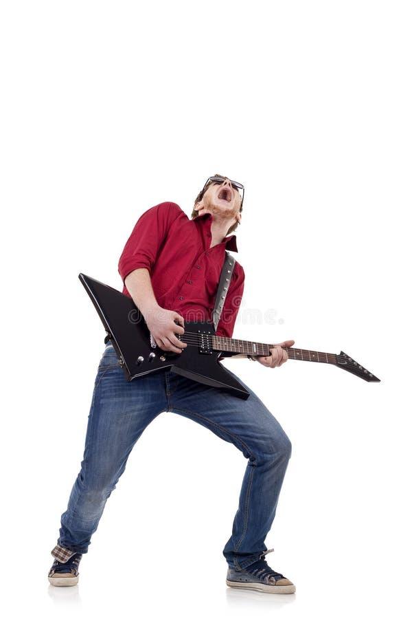 Leidenschaftlicher Gitarrist stockfotografie