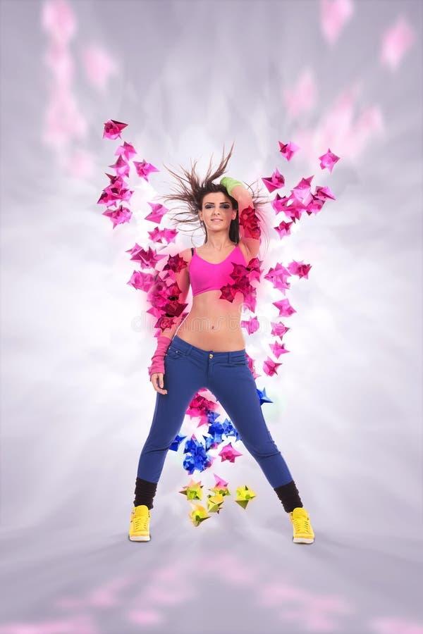 Leidenschaftlicher Tänzer der jungen Frau stockbild