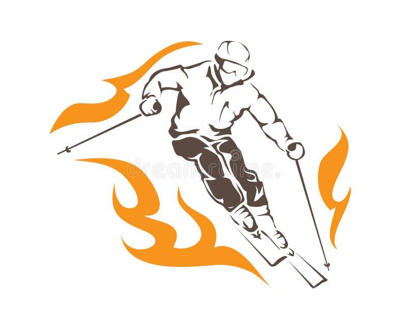 Leidenschaftlicher Winter-Sport aggressiv auf Feuer Ski Player Athlete Logo lizenzfreie abbildung