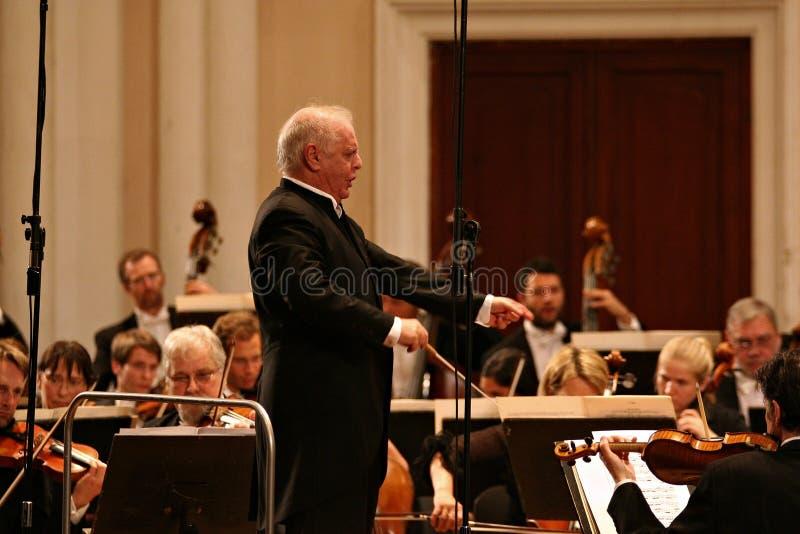 Leider Barenboim en Berlin Philharmonic Orchestra royalty-vrije stock foto's