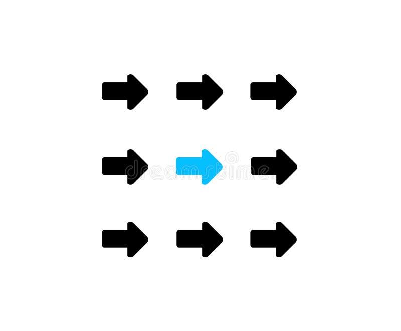 leider die zich met team als compacte groep bewegen stock illustratie