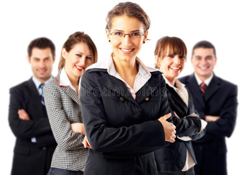 Leider en haar team stock fotografie