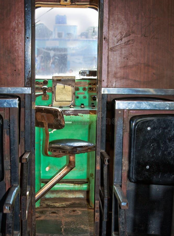 Leider` s zetel op antieke trein in Oud Havana, Cuba stock foto's