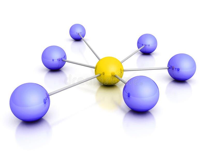 Leidersgebied in het centrum van conceptueel netwerk stock illustratie