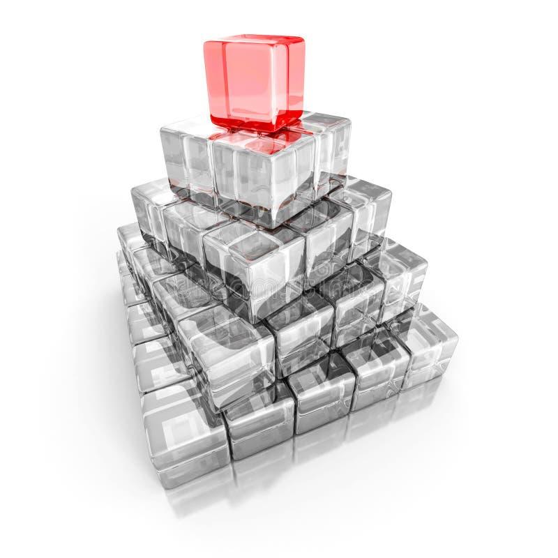 Leiding en hiërarchieconceptenpiramide met het lood van het rode bovenkantblok stock illustratie