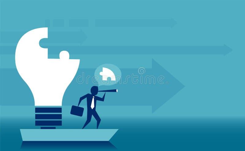 Leiding en onrealistisch vaardighedenconcept Vector van een bedrijfsmens die gloeilampenraadsel in zijn mening voltooien die op j stock illustratie