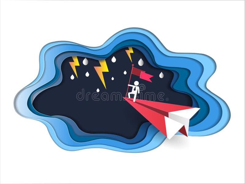 Leiding en succesconcept, Zakenman op hoogste holdingsvlag met rood vliegtuig die tegen slecht weer vliegen en blikseminslag in o royalty-vrije illustratie
