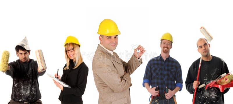 Leiding en team van arbeiders stock afbeeldingen