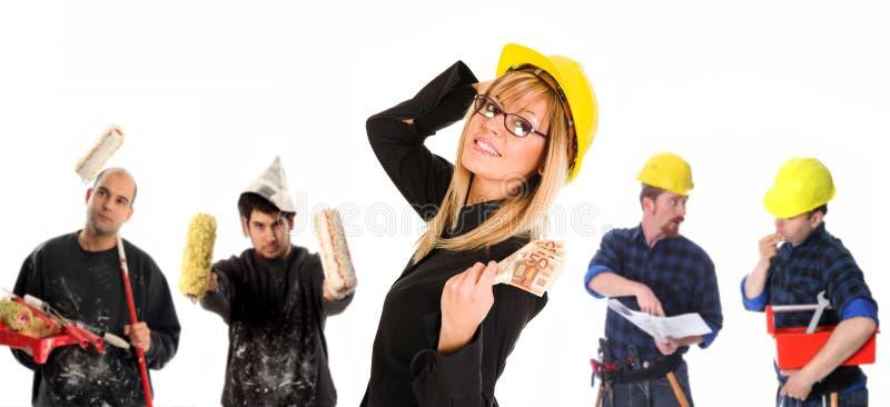 Leiding en team van arbeiders royalty-vrije stock afbeelding