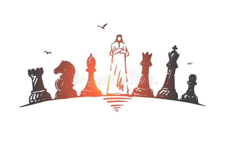 Leiding, globalisering, de schets van het succesconcept Hand getrokken ge?soleerde vectorillustratie royalty-vrije illustratie