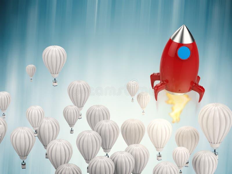 Leidingsconcept met rode raket stock illustratie