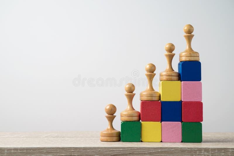 Leidingsconcept met schaak op houten blokken royalty-vrije stock foto