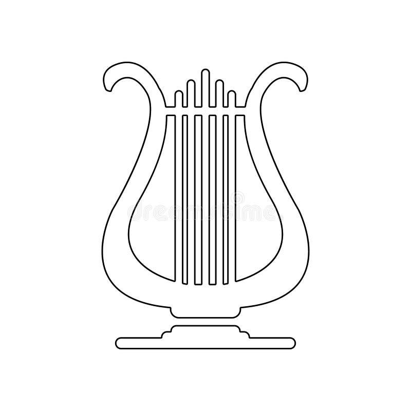 Leierikone Element des Musikinstrumentes f?r bewegliches Konzept und Netz Appsikone Entwurf, d?nne Linie Ikone f?r Websiteentwurf vektor abbildung