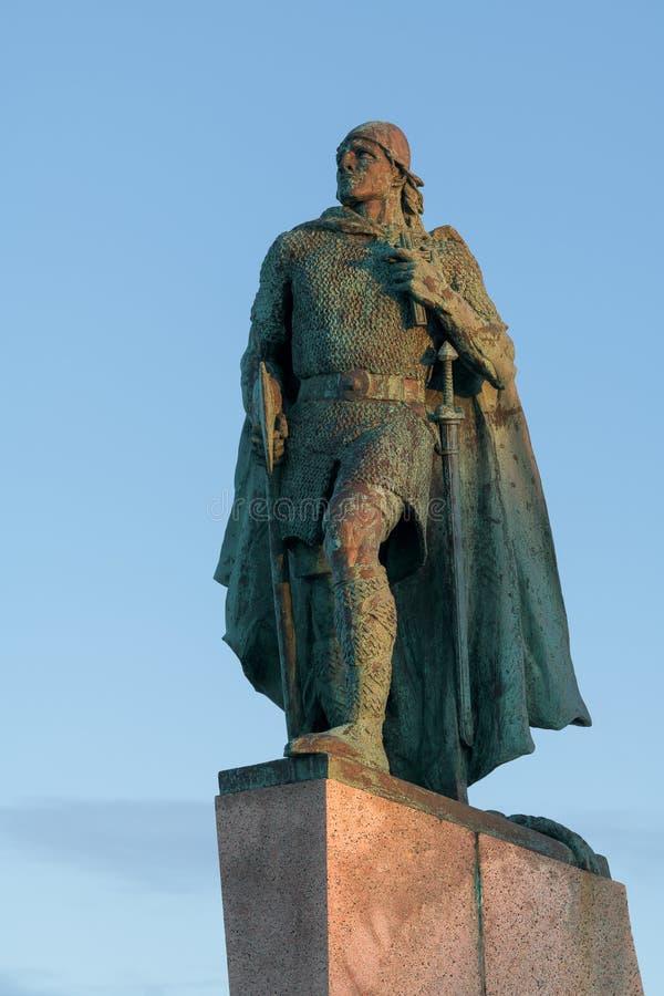 Leif Erikson statue. The statue of explorer Leif Erikson in front of Hallgrimskirkja church in Reykjavik, Iceland stock image