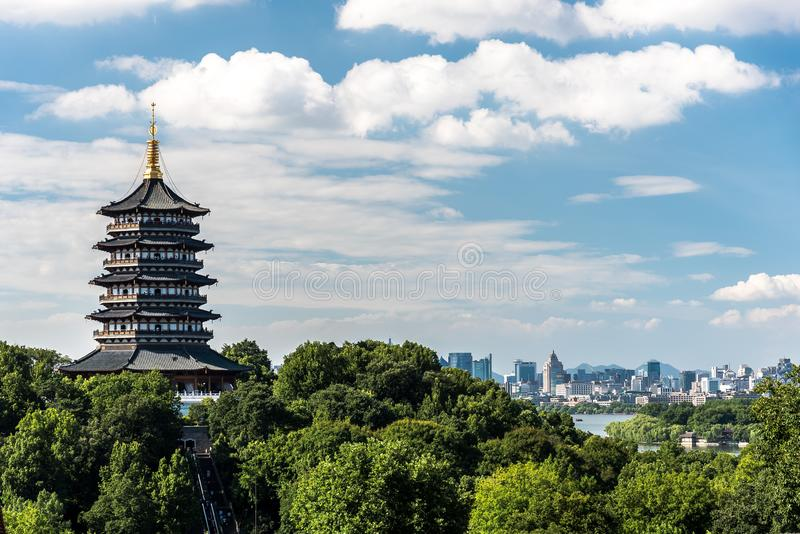 Leifeng Pagoda is a five stories tall tower with eight sides, located on Sunset Hill south of the West Lake in Hangzhou, China. stock image