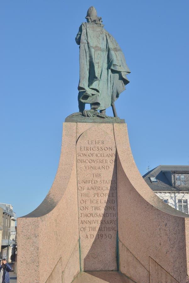 Leifur Eiricksson statue peering out to sea royalty free stock photos