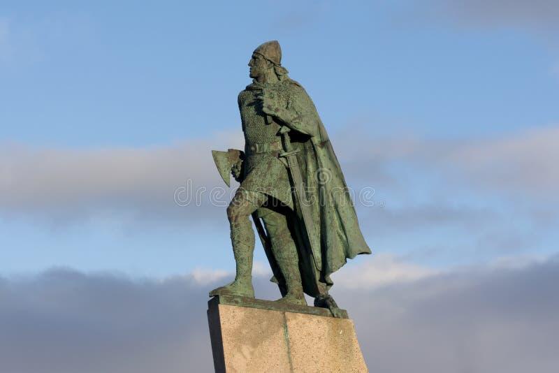 Leifur Eiriksson statue in reykjavik iceland. stock images