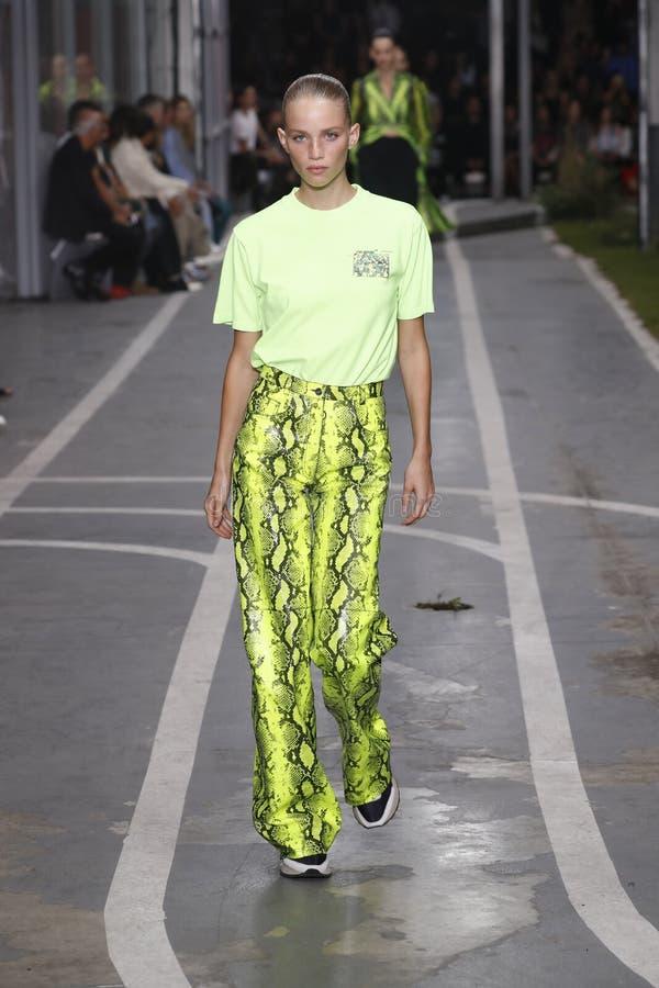 Ребекка Leigh Longendyke идет взлетно-посадочная дорожка во время -белого шоу как часть весны Womenswear недели моды Парижа/лета  стоковая фотография rf