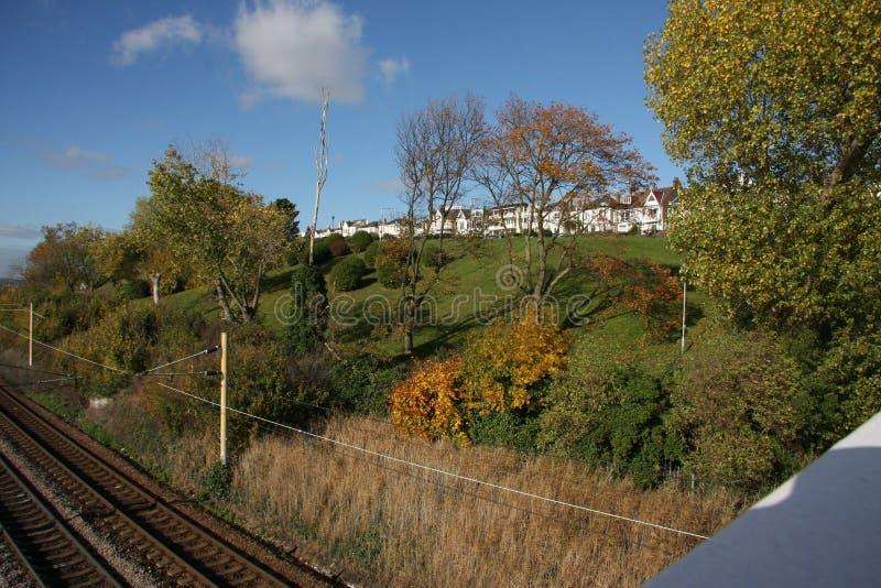 Leigh sur la voie ferroviaire de maritime images libres de droits