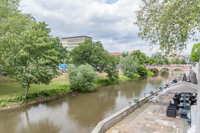 Leine river in Mitte quarter of Hannover, Germany.  royalty free stock images